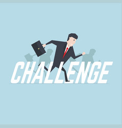 Businessman running with challenge text vector