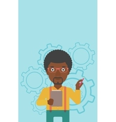 Businessman with pencil vector