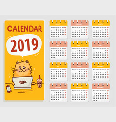 Calendar 2019 with cute red cartoon cat vector
