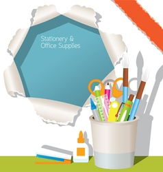 Can Holder with Office Supplies and Torn Paper vector image