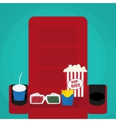 cinema concept soda water in glass popcorn and vector image