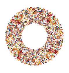 circle frame wreath design made of doodle vector image