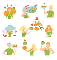 Collection of people with vegetables and fruits vector