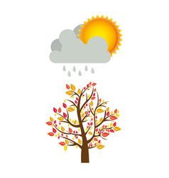 Colorful nature picture with autumn tree with rain vector