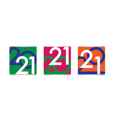 creative concept 2021 happy new year poster set vector image