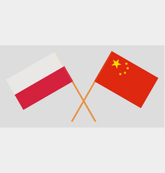 Crossed flags poland and china vector