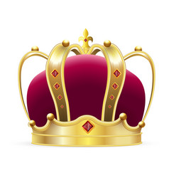 Crown logo isolated realistic royal gold crown vector