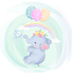 cute baelephant flying with balloons vector image