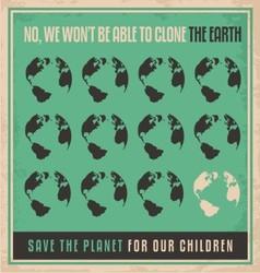 Ecology retro poster design concept vector