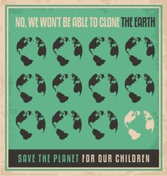 ecology retro poster design concept vector image