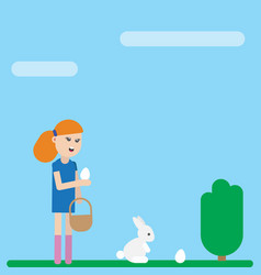 Ester holiday card girl is collecting eggs vector