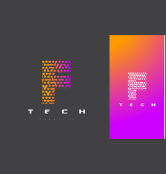f letter logo technology connected dots letter vector image