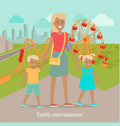 Family entertainment banner woman and two vector