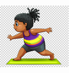 Fat woman exercising on mat vector