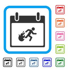 Fire evacuation man calendar day framed icon vector