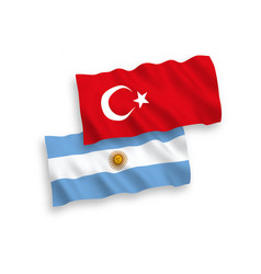 Flags turkey and argentina on a white vector