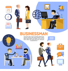 flat business office poster vector image