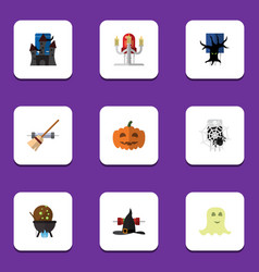 flat icon festival set of broom witch cap magic vector image