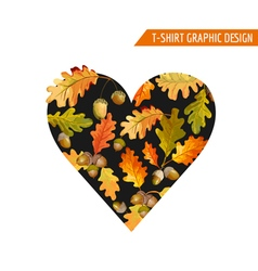 Floral Autumn Heart Graphic Design - for T-shirt vector image