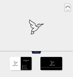 flying bird outline logo template and business vector image