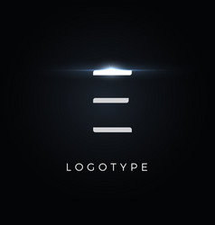 futurism style letter e minimalist type for vector image