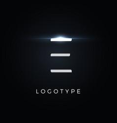 futurism style letter e minimalist type vector image