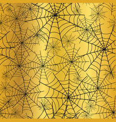 gold black spiderweb halloween seamless vector image