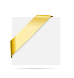 Golden corner ribbon - design element for vector