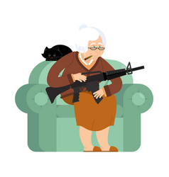 grandmother with gun old woman in an armchair vector image