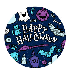 happy halloween wish in patterned circle vector image
