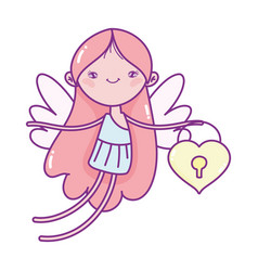 happy valentines day cute cupid with padlock vector image