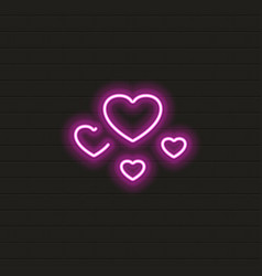 hearts icon in neon style vector image