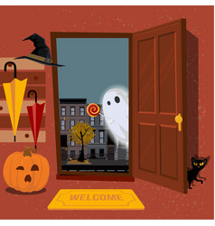 House interior decorated for halloween pumpkin vector