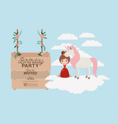 invited birthday party card with unicorn and vector image