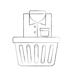 Laundry basket with clothes vector