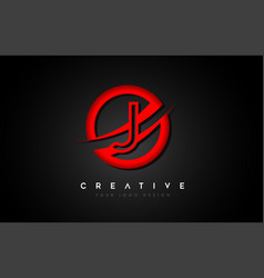 Letter j logo with a red circle swoosh design vector