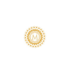 Letter m initial logo for wedding boutique luxury vector