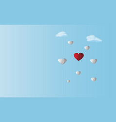 Love red heart balloon between white balloons in vector