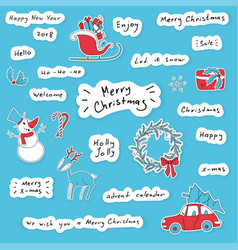 merry christmas hand drawn lettering stickers set vector image