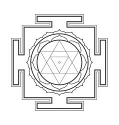 Monocrome outline Baglamukhi yantra vector