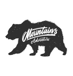 mountains adventure silhouette grizzly bear on vector image
