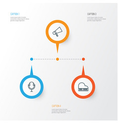 Multimedia icons set collection octave mike vector