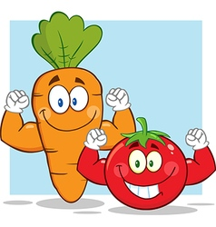 Muscly Carrot and Tomato Cartoon vector image