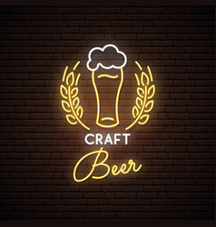 Neon sign of craft beer neon pub emblem bright vector