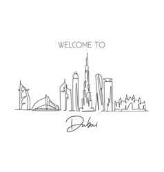one continuous line drawing dubai city skyline vector image