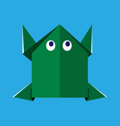 origami paper green frog vector image
