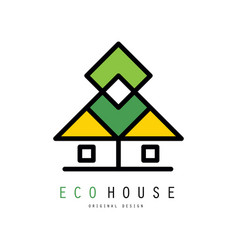 original logo with abstract eco house vector image
