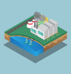 Pollution of industrial factory isometric vector