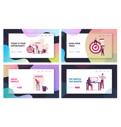 Priorities organize landing page template set vector