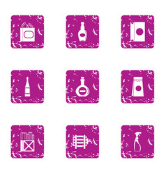 Receptacle icons set grunge style vector